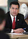 Nevada Gov. Brian Sandoval works in the Board of Examiners meeting at the Capitol in Carson City, Nev. on Tuesday, March 1, 2011..Photo by Cathleen Allison