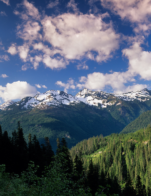 Mountains and clouds in Mount Baker-Snowqualmie National Forest. Washington.