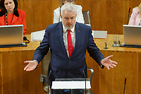 Pictured: First Minister for Wales Carwyn Jones. Tuesday 11 December 2018<br /> Re: First Minister for Wales Carwyn Jones during his last First Minister Questions at the Senedd in Cardiff Bay, Wales, UK. He will be succeeded by Assembly Member Mark Drakeford.