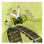 Cheerful young businessman on a rollercoaster ride with hands raised