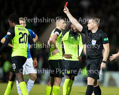 St Johnstone v Celtic…26.09.18…   McDiarmid Park     BetFred Cup Quarter Final<br />Referee John Beaton sends off Dedryck Boyata<br />Picture by Graeme Hart. <br />Copyright Perthshire Picture Agency<br />Tel: 01738 623350  Mobile: 07990 594431