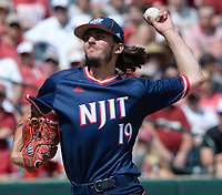 New Jersey Institute of Technology reliever Jake Rappaport delivers a pitch Friday, June 4, 2021, during the fourth inning of Arkansas 13-8 win over  in the first game of the NCAA Fayetteville Regional at Baum-Walker Stadium in Fayetteville. Visit nwaonline.com/210605Daily/ for today's photo gallery.<br /> (NWA Democrat-Gazette/Andy Shupe)