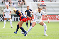 CARY, NC - APRIL 10: Hailie Mace #16 of the North Carolina Courage strips the ball away from Ashley Sanchez #10 of the Washington Spirit during a game between Washington Spirit and North Carolina Courage at Sahlen's Stadium at WakeMed Soccer Park on April 10, 2021 in Cary, North Carolina.