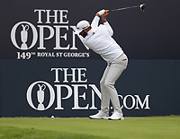 14th July 2021; The Royal St. George's Golf Club, Sandwich, Kent, England; The 149th Open Golf Championship, practice day; Dustin Johnson (USA) hits his driver from the tee at the 1st hole