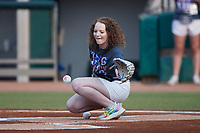 Tennessee Smokies Rally Crew member Emily Workman catches a ceremonial first pitch prior to the game against the Chattanooga Lookouts at Smokies Stadium on July 31, 2021, in Kodak, Tennessee. (Brian Westerholt/Four Seam Images)