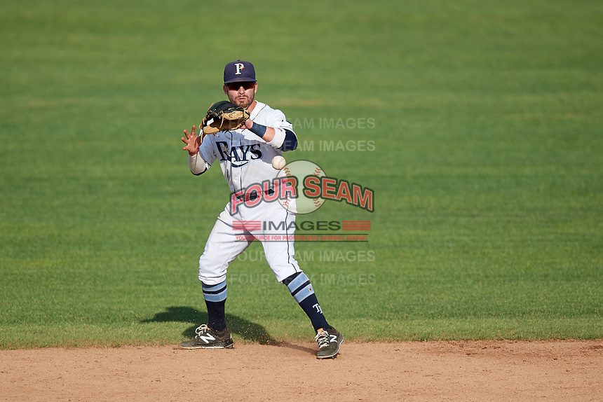 Princeton Rays second baseman Jake Palomaki (1) fields a ground ball during the first game of a doubleheader against the Johnson City Cardinals on August 17, 2018 at Hunnicutt Field in Princeton, Virginia.  Johnson City defeated Princeton 6-4.  (Mike Janes/Four Seam Images)
