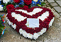 A floral tribute fro Heart of Midlothian FC left at Mortonhall Crematorium after the funeral service for Sandy Jardine.