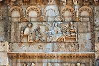Sculpture St. Peter on the 12th century Romanesque facade of the Chiesa di San Pietro extra moenia (St Peters), Spoletto, Italy