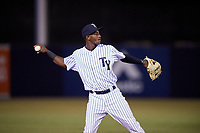 Tampa Yankees shortstop Jorge Mateo (14) throws to first base during a game against the Lakeland Flying Tigers on April 7, 2017 at George M. Steinbrenner Field in Tampa, Florida.  Lakeland defeated Tampa 5-0.  (Mike Janes/Four Seam Images)