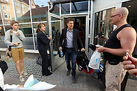 Thursday 08 August 2013<br /> Pictured: Swansea manager Michael Laudrup exits the hotel where his team was staying<br /> Re: Malmo FF v Swansea City FC, UEFA Europa League 3rd Qualifying Round, Second Leg, at the Swedbank Stadium, Malmo, Sweden.