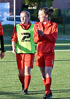 Jana Simons (8) of Woluwe and Selina Gijsbrechts (11) of Woluwe pictured before a female soccer game between  Racing Genk Ladies and White Star Woluwe on the 8 th matchday of play off 2 in the 2020 - 2021 season of Belgian Scooore Womens Super League , tuesday 18 th of May 2021  in Genk , Belgium . PHOTO SPORTPIX.BE | SPP | JILL DELSAUX