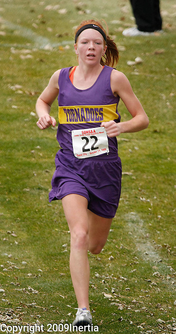 RAPID CITY, SD -- OCTOBER 24, 2009 -- Nicole Steadman of Centerville runs to the finish during the class B girls event at the 2009 South Dakota State High School Cross Country Meet Saturday in Rapid City. (Photo by Dick Carlson/Inertia)