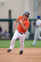Lakeland Flying Tigers left fielder Joey Pankake (9) running the bases during the second game of a doubleheader against the St. Lucie Mets on June 10, 2017 at Joker Marchant Stadium in Lakeland, Florida.  Lakeland defeated St. Lucie 9-1.  (Mike Janes/Four Seam Images)