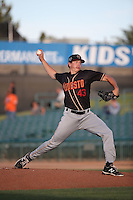 Parker French (43) of the Modesto Nuts pitches against the Lancaster JetHawks at The Hanger on June 7, 2016 in Lancaster, California. Lancaster defeated Modesto, 3-2. (Larry Goren/Four Seam Images)