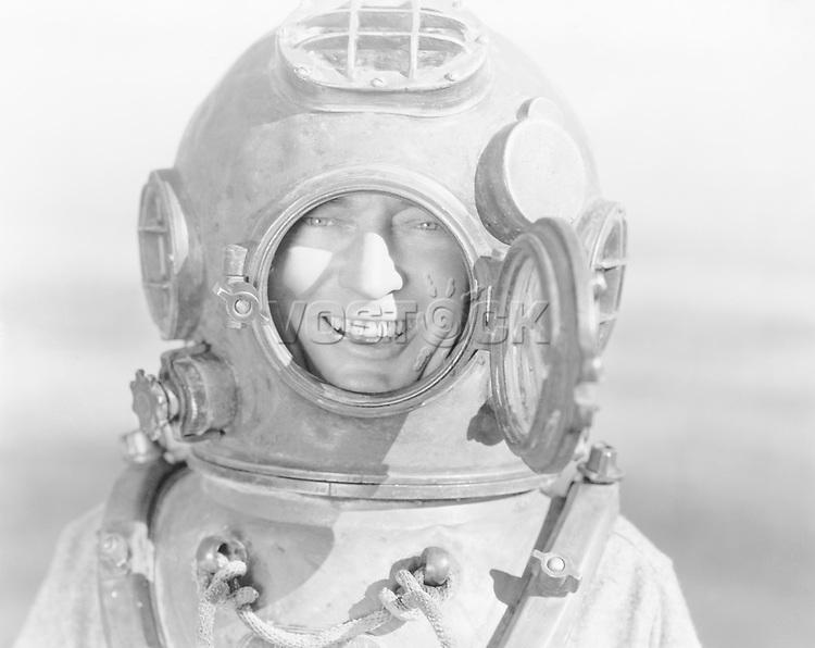 Portrait of man in diving helmet