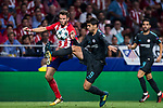 Saul Niguez Esclapez (l) of Atletico de Madrid fights for the ball with Alvaro Morata of Chelsea FC during the UEFA Champions League 2017-18 match between Atletico de Madrid and Chelsea FC at the Wanda Metropolitano on 27 September 2017, in Madrid, Spain. Photo by Diego Gonzalez / Power Sport Images