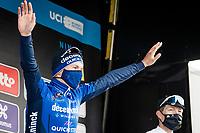 Davide Ballerini (ITA/Deceuninck - QuickStep) wins the 76th Omloop Het Nieuwsblad 2021<br /> <br /> ME(1.UWT)<br /> 1 day race from Ghent to Ninove (BEL): 200km<br /> <br /> ©kramon