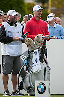 21.05.2015. Wentworth, England. BMW PGA Golf Championship. Round 1. Martin Kaymer [GER] and bag on the first tee. First round of the 2015 BMW PGA Championship from The West Course Wentworth Golf Club
