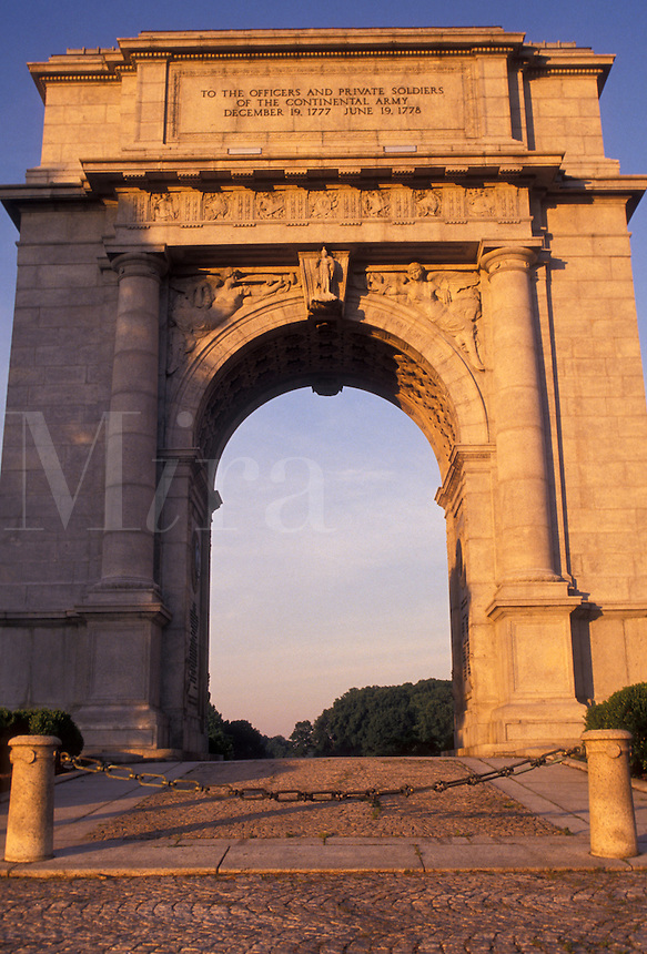 AJ2760, arch, arc, Valley Forge Park, Valley Forge, Pennsylvania, National Memorial Arch in Valley Forge National Historical Park in Valley Forge in the state of Pennsylvania.