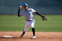 Steven Ondina during the Under Armour All-America Pre-Season Tournament, powered by Baseball Factory, on January 19, 2019 at Sloan Park in Mesa, Arizona.  Steven Ondina is a shortstop from Gurabo, Puerto Rico who attends International Baseball Academy High School and is committed to Florida International University.  (Mike Janes/Four Seam Images)