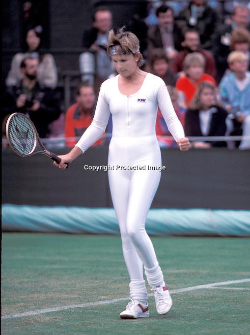 1985, Wimbledon, Ann White in jumpsuit