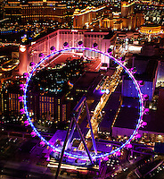 aerial photograph at night of the High Roller Ferris Wheel, Las Vegas, Clark County, Nevada