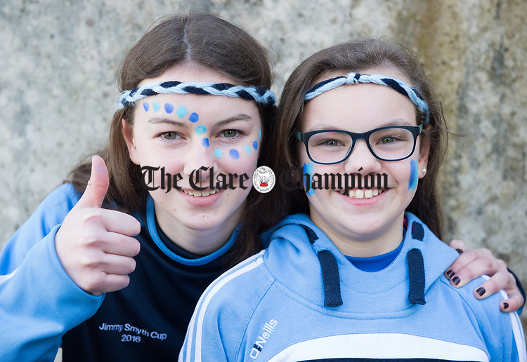 Scariff Community College fans Alva and Aine Rodgers before their All-Ireland Colleges final at Toomevara. Photograph by John Kelly.