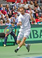 Switserland, Genève, September 19, 2015, Tennis,   Davis Cup, Switserland-Netherlands, Matwe Middelkoop (NED)<br /> Photo: Tennisimages/Henk Koster