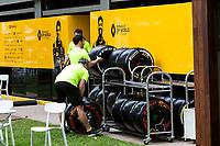 13th March 2020; Melbourne Grand Prix Circuit, Melbourne, Victoria, Australia; Formula One, Australian Grand Prix, Practice Day; Renault pack their garage away