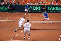 19-9-09, Netherlands,  Maastricht, Tennis, Daviscup Netherlands-France, Dubbles Thiemo de Bakker en Igor Sijsling(voorgrond) tegen Tsonga en LLodra