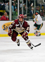 18 October 2009: Boston College Eagle forward Steven Whitney, a Freshman from Reading, MA, in action against the University of Vermont Catamounts at Gutterson Fieldhouse in Burlington, Vermont. The Catamounts defeated the visiting Eagles 4-1. Mandatory Credit: Ed Wolfstein Photo