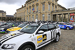Team cars lined up at the Team Presentations in Compiegne before the 2015 Paris-Roubaix cycle race held over the cobbled roads of Northern France. 11th April 2015.<br /> Photo: Eoin Clarke www.newsfile.ie