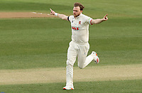 Sam Cook of Essex celebrates taking the wicket of Gareth Roderick during Essex CCC vs Worcestershire CCC, LV Insurance County Championship Group 1 Cricket at The Cloudfm County Ground on 9th April 2021