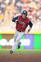 Tyler Austin (17) of the Scranton/Wilkes-Barre RailRiders hustles towards third base during the game against the Durham Bulls at Durham Bulls Athletic Park on May 15, 2015 in Durham, North Carolina.  The RailRiders defeated the Bulls 8-4 in 11 innings.  (Brian Westerholt/Four Seam Images)