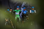 Giacomo Nizzolo (ITA) NTT Pro Cycling Team wearing the Green Jersey at sign on before Stage 5 of the 78th edition of Paris-Nice 2020, running 227km from Gannat to La Cote-Saint-Andre, France. 12th March 2020.<br /> Picture: ASO/Fabien Boukla | Cyclefile<br /> All photos usage must carry mandatory copyright credit (© Cyclefile | ASO/Fabien Boukla)