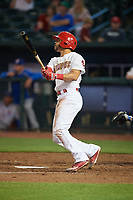 Memphis Redbirds center fielder Tommy Pham (27) follows through on a swing during a game against the Round Rock Express on April 28, 2017 at AutoZone Park in Memphis, Tennessee.  Memphis defeated Round Rock 9-1.  (Mike Janes/Four Seam Images)