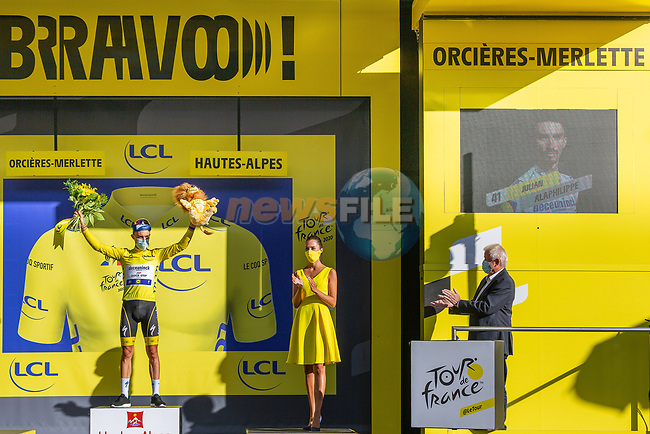 Julian Alaphilippe (FRA) Deceuninck-Quick Step retains the race leaders Yellow Jersey at the end of Stage 4 of Tour de France 2020, running 160.5km from Sisteron to Orcieres-Merlette, France. 1st September 2020.<br /> Picture: ASO/Herve Tarrieu | Cyclefile<br /> All photos usage must carry mandatory copyright credit (© Cyclefile | ASO/Herve Tarrieu)