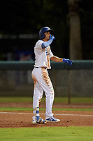 AZL Dodgers Lasorda Aldo Espinoza (10) celebrates after getting a hit during an Arizona League game against the AZL Athletics Green at Camelback Ranch on June 19, 2019 in Glendale, Arizona. AZL Dodgers Lasorda defeated AZL Athletics Green 9-5. (Zachary Lucy/Four Seam Images)