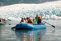 Rafting on the lake in front of Spencer Glacier, Chugach National Forest, Kenai Peninsula, Alaska. ..July 13, 2004 Porcaro / Alaska Railroad assignment