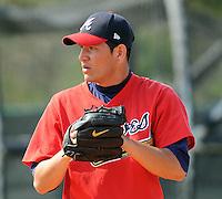13 March 2009: LHP Edgar Osuna of the Atlanta Braves at Spring Training camp at Disney's Wide World of Sports in Lake Buena Vista, Fla. Photo by:  Tom Priddy/Four Seam Images
