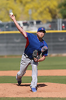 Marcus Hatley of the Chicago Cubs pitches during a Minor League Spring Training Game against the Los Angeles Angels at the Los Angeles Angels Spring Training Complex on March 23, 2014 in Tempe, Arizona. (Larry Goren/Four Seam Images)