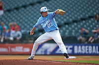 North Carolina Tar Heels starting pitcher Tyler Baum (23) in action against the Florida State Seminoles in the 2017 ACC Baseball Championship Game at Louisville Slugger Field on May 28, 2017 in Louisville, Kentucky. The Seminoles defeated the Tar Heels 7-3. (Brian Westerholt/Four Seam Images)
