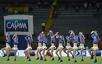 BOGOTÁ -COLOMBIA, 19-07-2014. Aspecto de las porristas al intermedio del encuentro entre Millonarios y Envigado FC por la fecha 1 de la Liga Postobón I 2014 jugado en el estadio Nemesio Camacho El Campín de la ciudad de Bogotá./ Aspect of the cheerleader at half time of the match between Millonarios and Envigado FC for the first date of the Postobon League I 2014 played at Nemesio Camacho El Campin stadium in Bogotá city. Photo: VizzorImage/ Gabriel Aponte / Staff