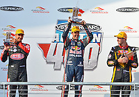 May 19, 2013 LtoR: Fabian Coulthard #14 of Lockwood Racing, Jamie Whincup #1 of Triple Eight Engineering and Shane Van Gisbergen #97 of TEKNO Team VIP during award ceremony at the conclusion of V8 Supercars race 16 on day three of Austin 400 in Austin, TX.