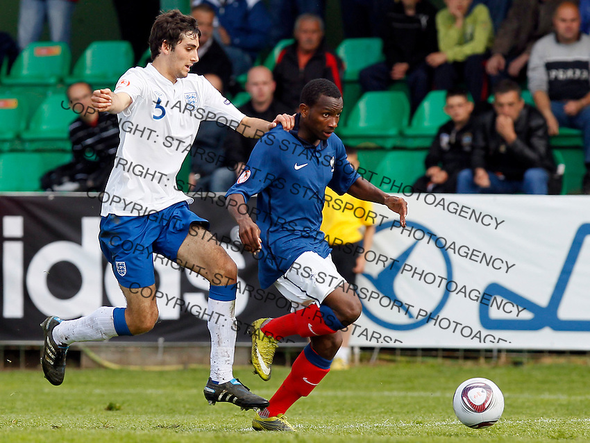 Soccer, UEFA U-17.France Vs. England.Adam Jackson, left and  Gaetan Laborde.Indjija, 03.05.2011..foto: Srdjan Stevanovic