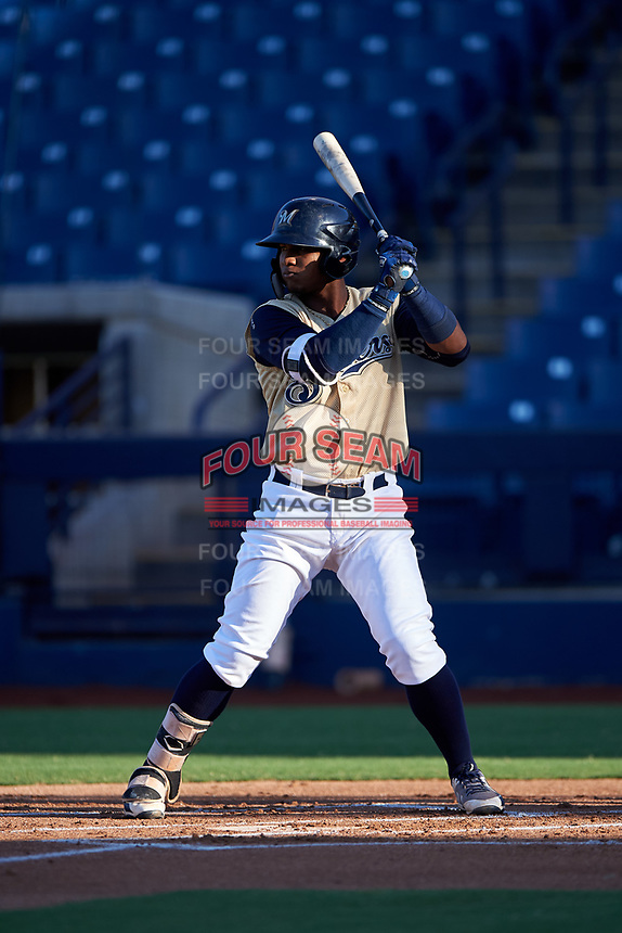 AZL Brewers Gold Oswel Leones (2) at bat during an Arizona League game against the AZL Brewers Blue on July 13, 2019 at American Family Fields of Phoenix in Phoenix, Arizona. The AZL Brewers Blue defeated the AZL Brewers Gold 6-0. (Zachary Lucy/Four Seam Images)