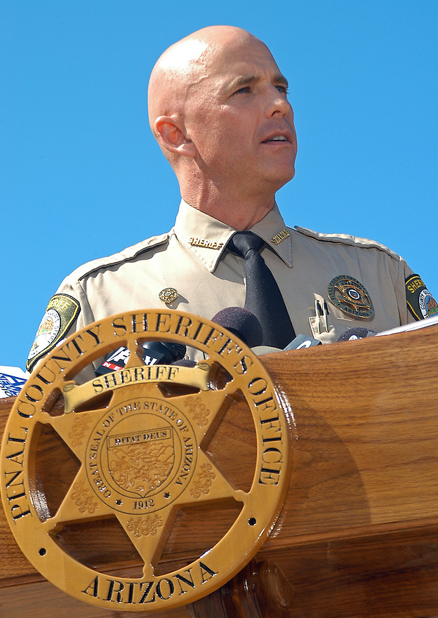 """AJ Alexander - Pinal County Sheriff Paul Babeu joined other County Sheriffs at the Arizona State Capitol for a press conference. The sheriffs said they want Attorney General Eric Holder to be held accountable for the lost law enforcement lives in Arizona and Mexico. They demanded the truth from the federal government about operation """"Fast and Furious."""" on Friday October 7, 2011 in the morning in Phoenix, AZ..Photo by AJ Alexander..."""