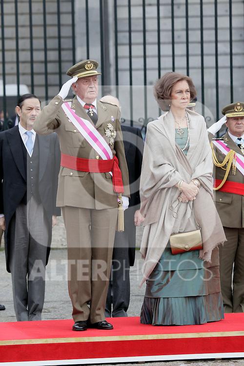 Military Christmas at Madrid Royal Palace. King Juan Carlos and Queen Sofia...Photo: MAC / ALFAQUI