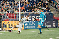 FOXBOROUGH, MA - AUGUST 4: Andrew Farrell #2 of New England Revolution saves a goal on the goal line during a game between Los Angeles FC and New England Revolution at Gillette Stadium on August 3, 2019 in Foxborough, Massachusetts.
