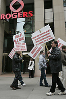 Montreal (QC) CANADA, april 2005 file - demo in front of rogers store in downtown Montreal